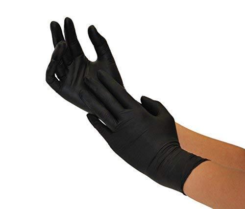 Einweghandschuhe Nitril 200 Stck Box (L, Nitril schwarz) Nitrilhandschuhe, Einmalhandschuhe, Untersuchungshandschuhe, Nitril Handschuhe, puderfrei, ohne Latex, unsteril, latexfrei, disposible gloves,