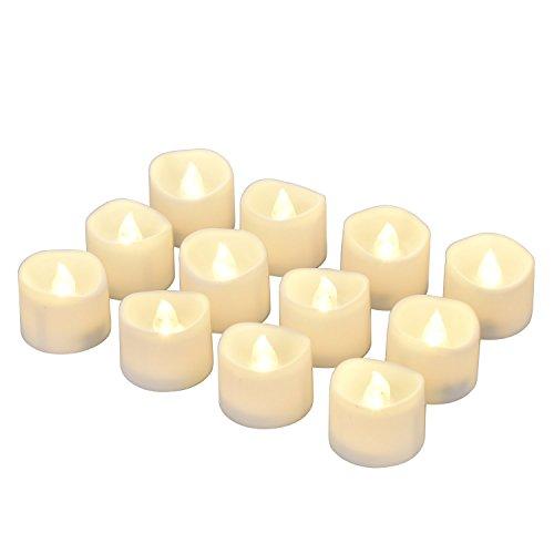 LED Kerzen, eLander LED Tee Lichter flammenlose Kerzen mit Timer, Automatikmodus: 6 Stunden an und 18 Stunden aus, 3.2x3.6 cm, [12 Stück, Warm-weiß]