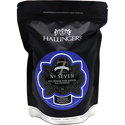 Hallingers Entkoffeinierter Gourmet-Kaffee aus thiopien, schonend langzeit-gerstet (500g) - No. Seven (Aromabeutel) - zu Passt immer