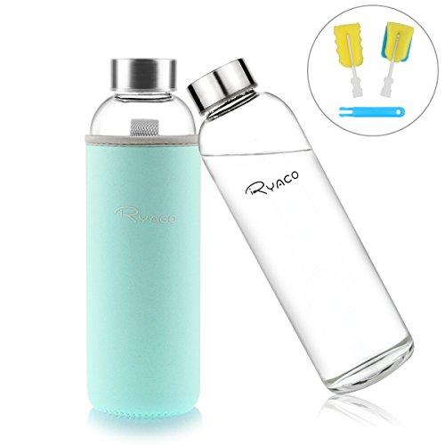 Ryaco Glasflasche Trinkflasche Classic Tragbare 550ml BPA-frei fr unterwegs Sportflasche Glas Wasserflasche zum Mitnehmen von kalten Hei Getrnken mit Neopren Tasche und Schwammbrste (Minze Grne)