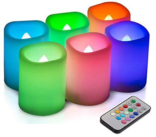 Kohree 6 LED Romantische Kerzen Bunt, Flammenlose Kerzen Farbwechsel mit Timer und Fernbedienung
