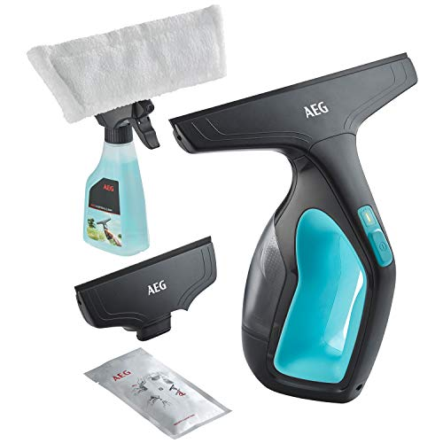 AEG Fenstersauger WX7-60 A2 (60 Min. Laufzeit, Lithium-Power-Akku, inkl. 2 Aufstze, Sprhflasche mit waschbarem Mikrofaser-Wischbezug