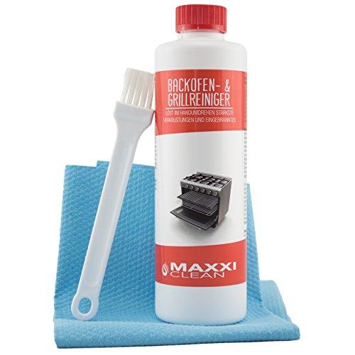Maxxi Clean Backofenreiniger 500-ml Gel Paste inkl. Backofen- und Grillreiniger Pinsel | lst hartnckigste Verkrustungen, reinigt selbstttig - ohne aufheizen - ohne Gerche + Bonus Antibac Fleece