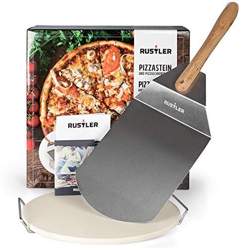 Rustler Pizzastein-/ Brotbackstein ø38 cm mit Edelstahl-Gestell + Pizzaschieber aus Edelstahl   für Pizza, Flammkuchen & Brot   für Backöfen, Holzkohle- und Gasgrills geeignet   in Geschenkverpackung*